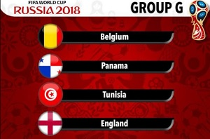Group G on World Cup 2018: Belgium, Panama, Tunisia and England